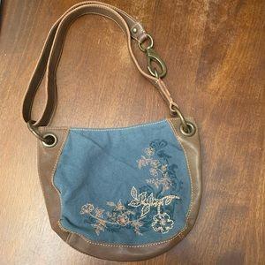 Vintage Fossil Embroidered Shoulder Bag